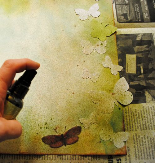 scrapbooking, misting, stamping
